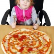 Little girl with big pizza — Stock Photo