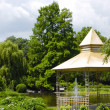 Park scene with music pavilion - 