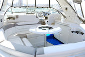 Yacht interior with table — Stock Photo