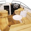 Luxury yacht cabin interior with leather seats and table — Stock Photo
