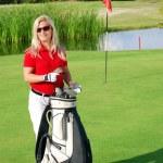 Girl on golf field — Stock Photo
