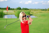 Girl golf player portrait — Stock Photo