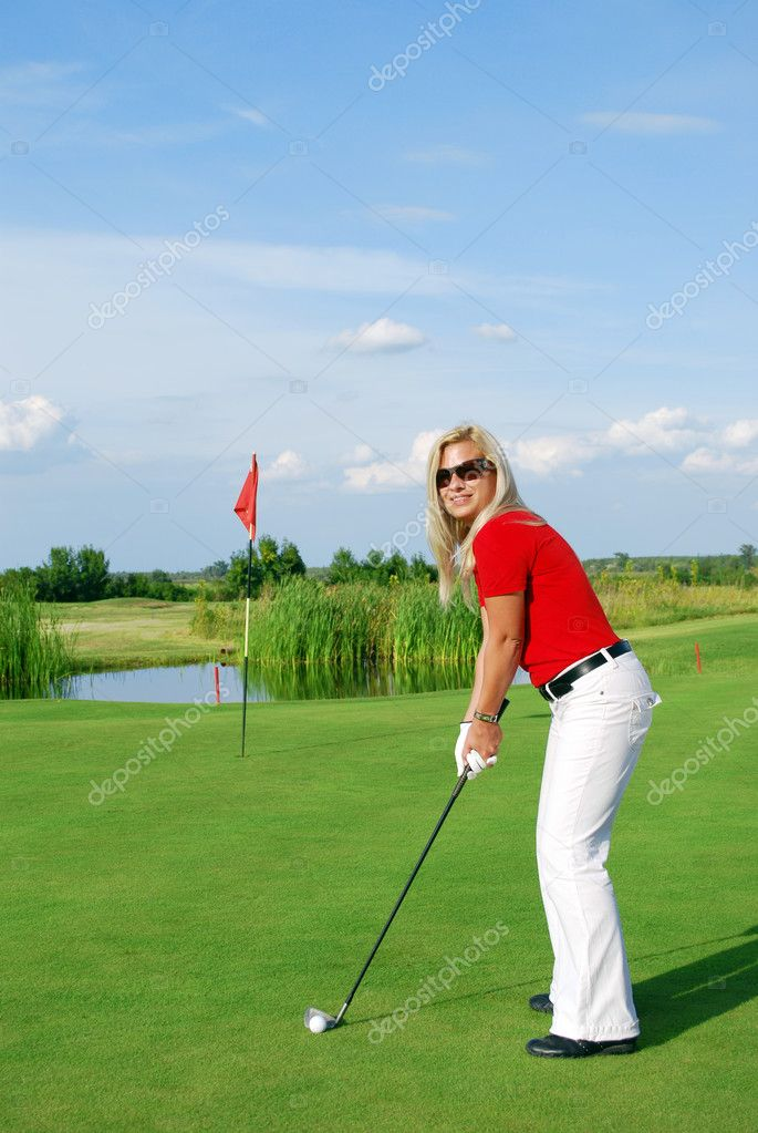 Girl golf player — Stock Photo #3796430