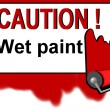 Caution - wet paint warning sign — Stock Photo #2921990