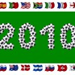2010 - Soccer and Nation Flags - Foto Stock