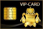 Vip-kaart wit een gouden crest — Stockfoto