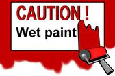 Caution - wet paint warning sign — Stock Photo