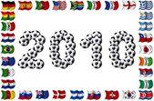 2010 年-足球和民族标志 — 图库照片