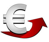 Euro Sign with arrow — Stock Photo