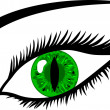 Green Eye with lashes - animal pupil - Stock Photo