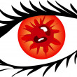Red Eye with lashes — Foto Stock