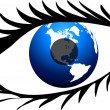 Eye with lashes and globe — Stock Photo