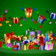 Jumping presents and colorful gift boxes — Stockfoto
