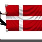 Girl with a Flag of Denmark — Stock Photo