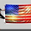 Girl with a Flag of the USA — Stockfoto