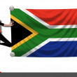Girl with a Flag of South Africa — Stockfoto