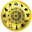 Royalty-Free Stock Photo: Yellow Zodiac Disc with Signs and Symbols