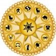 Stock Photo: Golden zodiac disc