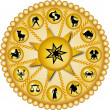 图库照片: Golden zodiac disc