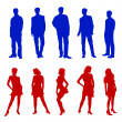 Young adults silhouettes red blue — Stock Photo
