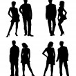 Stock Photo: Young adults couple silhouettes black white