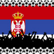Soccer fans Serbia — Stock Photo