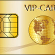 VIP Card with a golden Globe — Stock Photo