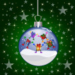 Christmas glass ball with jumping presents - Zdjęcie stockowe