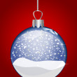 Illustration of a christmas glass ball on red ba — Stock Photo