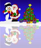 Santa claus and snowman at a winter sea — Stock Photo