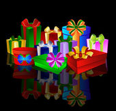 Colorful presents on black background — Stock Photo