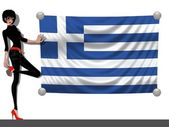 Girl with a Flag of Greece — Stock Photo