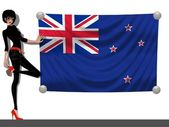 Girl with a Flag of New Zealand — Stock Photo