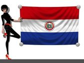 Girl with a Flag of Paraguay — Stock Photo