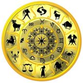 Yellow Zodiac Disc with Signs and Symbols — Stock Photo