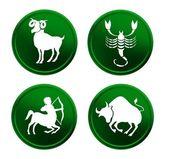 Green zodiac signs - set 1 — Stock Photo