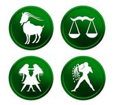 Green zodiac signs - set 2 — Stock Photo