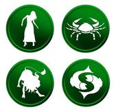 Green zodiac signs - set 3 — Stock Photo