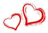 Beyaz zemin üzerine iki kalp — Stok fotoğraf