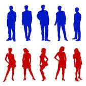 年轻成人剪影红色蓝色 — 图库照片