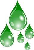 Illustration of a set of green waterdrops — Stock Photo