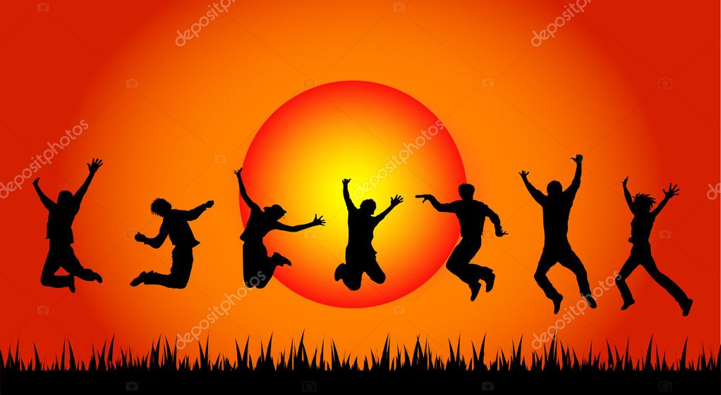 Jumping in sunset — Stock Photo #2945754
