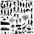 Different silhouettes et - Stock Vector