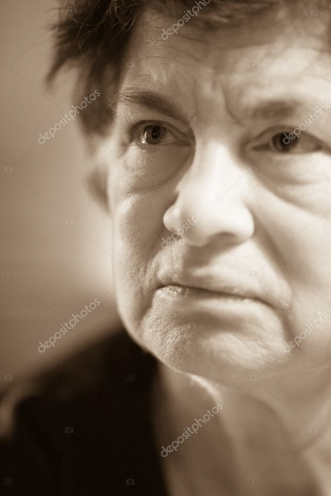 Senior closeup  portrait of older woman looking up  Stock Photo #2872038