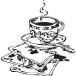 Cup of Coffee and Playing Cards_Black - 图库照片