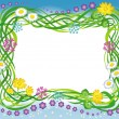 Frame with the grass and flowers — Stock Vector