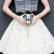 Girl with Antique Camera — Stock Photo