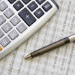 Stock Photo: Balancing the Accounts. Calculator, pen