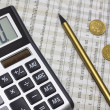 Calculator, pencil, polish money — Stockfoto