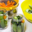 Preparation of Pickled Cucumbers and Carrots - Stock Photo